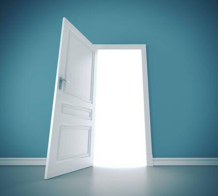Open door in blue wall. Way to success concept. 3D Rendering