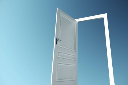 Open door on a blue sky background. Business and success concept. 3D Rendering