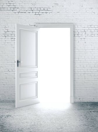 Puerta abierta en pared de ladrillo blanco. Camino al concepto de éxito. Representación 3D Foto de archivo