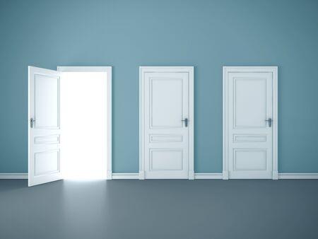 Bright light through an open door in empty room. Mock up, 3D Rendering