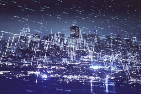 Financial graph on night city scape with tall buildings background double exposure. Analysis concept.