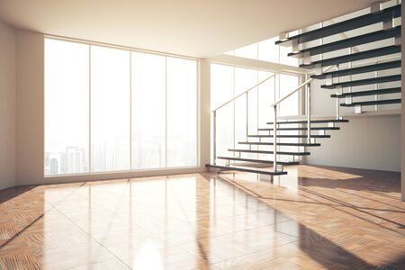Empty interior with stairs, city view and sunlight. Presentation concept. 3D Rendering Stock Photo