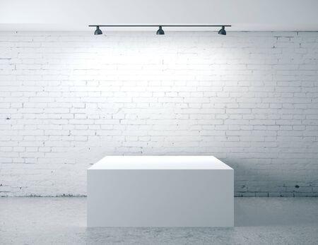 Brick concrete room with box presentation. Gallery, advertisement, presentation concept.