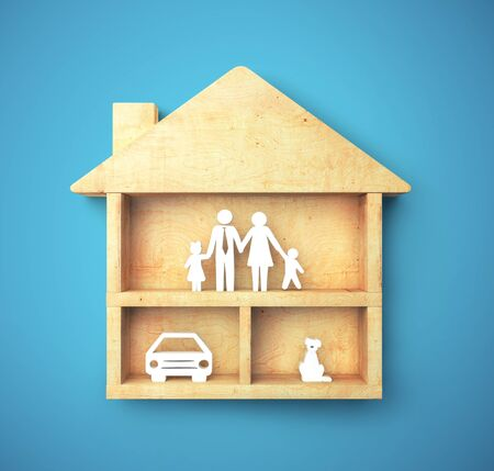 Happy family in wooden house on blue background. Family and comfort concept, 3D Rendering