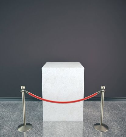 Stanchions barrier and white box isolated on white background. 3D Rendering