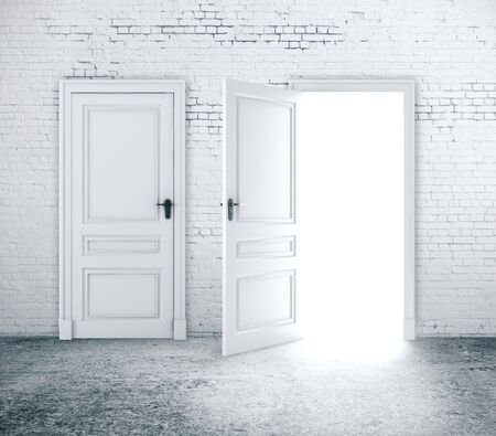 Open and close door in white brick wall. Way to success concept. 3D Rendering