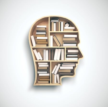 Ðead-shaped shelf with many colored book on white background. Business and education concept, 3D Rendering