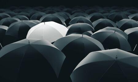 Ombrello bianco in massa di ombrelli neri. Rendering 3D