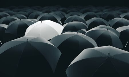 Witte paraplu in massa zwarte paraplu's. 3D-rendering