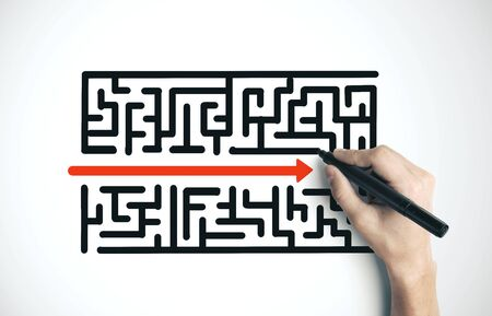 Hand drawing creative maze with arrow. Difficulty and success concept Banco de Imagens