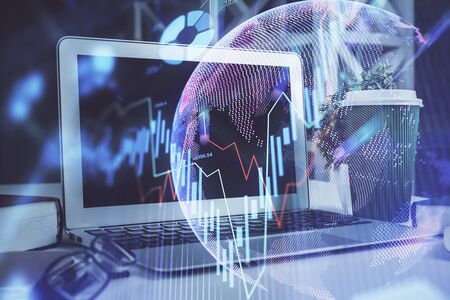 Multi exposure of forex chart and work space with computer. Concept of international online trading.
