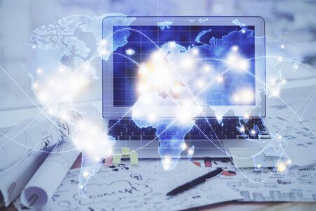 Multi exposure of business theme icons and work space with computer background. Concept of success.