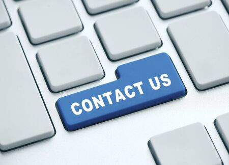 Blue contact us button on keyboard. Technology and communication concept, 3D Rendering