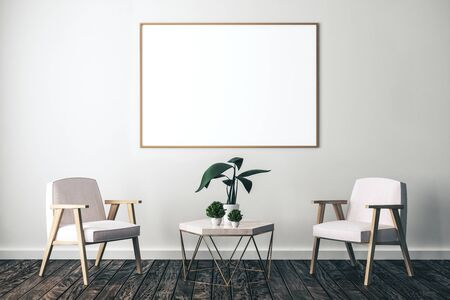 Living interior with two chair, decorative plants on table and blank baner on wall. Style, design and advertisement concept. 3D Rendering