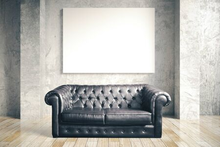 Luxuri black leather sofa and blank poster in concrete room. Mock up, 3D Rendering Stok Fotoğraf