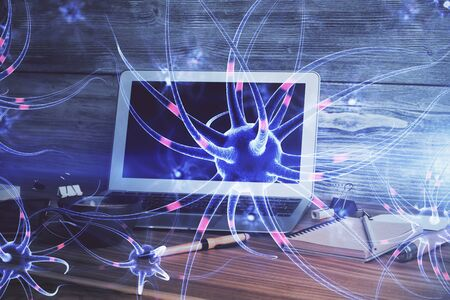 Desktop computer background and neuron drawing. Double exposure. Education concept. Stock fotó