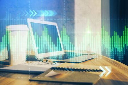 Stock market graph and table with computer background. Multi exposure. Concept of financial analysis. Standard-Bild - 138456473