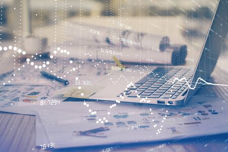 Double exposure of computer and technology theme hud. Concept of innovation. Reklamní fotografie