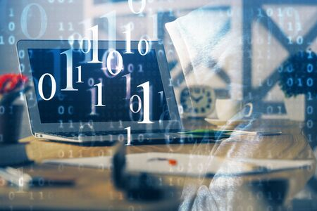 Technology theme drawing and work space with computer. Double exposure. Concept of innovation. Reklamní fotografie