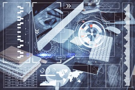 Technology theme drawing and table with computer. Double exposure. Concept of information.