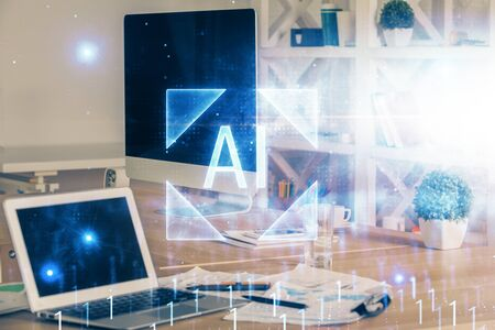 Multi exposure of computer on background and technology theme drawing. Concept of innovation.