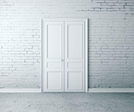 Closed door in brick room interior. Mock up, 3D Rendering