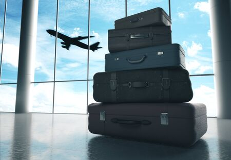 Travel bags in airport and airliner in sky. Travel and transportation concept, 3D Rendering