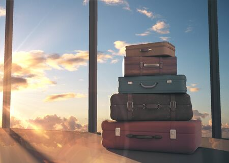 Travel bags in airport. Travel and transportation concept, 3D Rendering