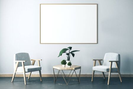 Living room interior with two chair, decorative plants on table and blank banner on wall. Style, design and advertisement concept. 3D Rendering