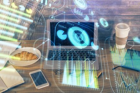 Double exposure of computer and technology theme hud. Concept of innovation. Stock Photo