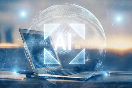 Double exposure of computer and technology theme hologram. Concept of freelance work.