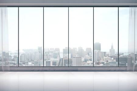 Minimalistic interior room with panoramic city view and daylight. 3D Rendering