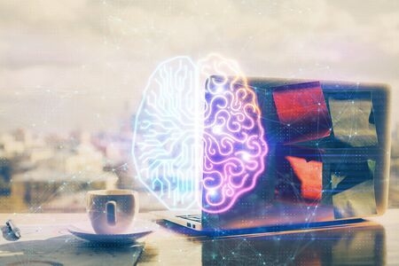 Multi exposure of work table with computer and brain hologram. Brainstorm concept. Stock Photo