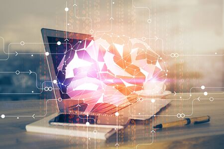 Multi exposure of work table with computer and brain hologram. Brainstorm concept. Stok Fotoğraf