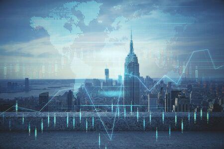 Forex-Diagramm auf Stadtansicht mit Wolkenkratzern im Hintergrund Mehrfachbelichtung. Konzept der Finanzanalyse.
