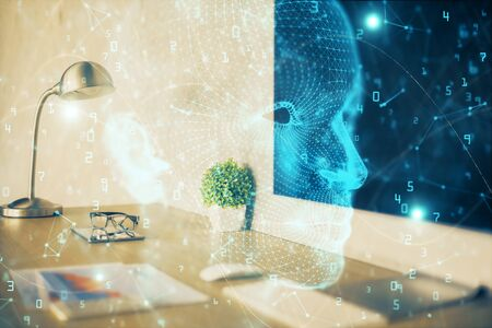 Double exposure of work space with computer and human brain drawing hologram. Brainstorm concept. Stock Photo