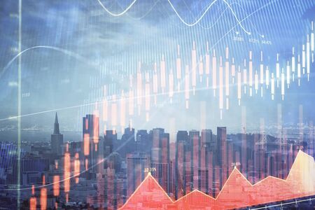 Forex graph on city view with skyscrapers background multi exposure. Financial analysis concept. Standard-Bild