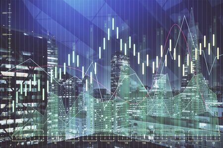 Financial graph on night city scape with tall buildings background multi exposure. Analysis concept. 免版税图像