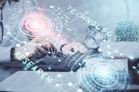 Multi exposure of mans hands holding and using a digital device and data theme drawing. Innovation concept.