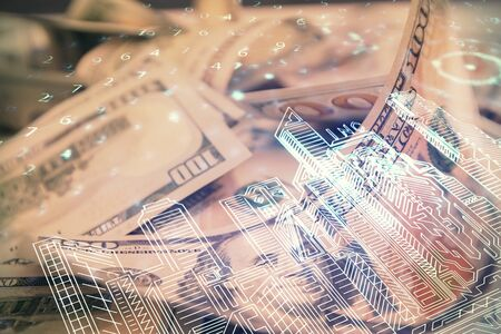 Double exposure of town drawing over usa dollars bill background. smart city concept.
