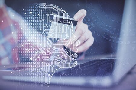 Double exposure of man hands typing on computer with credit card and brain theme drawing. E-commerce and AI concept.