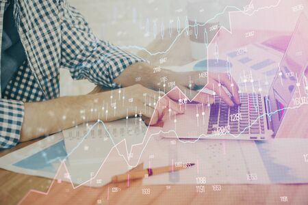 Multi exposure of stock market chart with man working on computer on background. Concept of financial analysis.