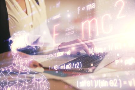 Double exposure of woman hands typing on computer and formula hologram drawing. Education concept.