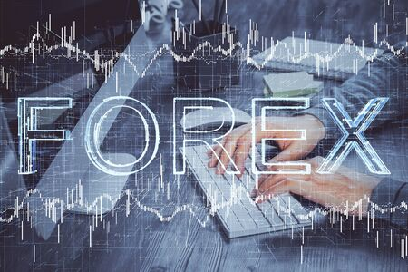 Double exposure of financial graph with man works in office on background. Concept of analysis.