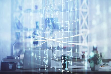 Double exposure of data theme drawing and office interior background. Concept of technology. Stockfoto