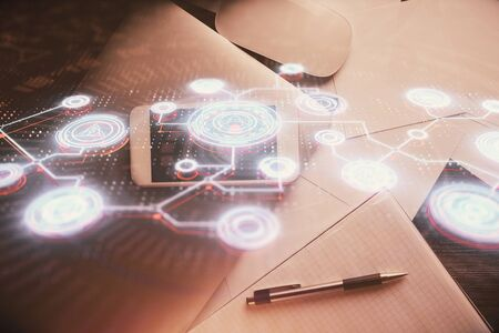 Double exposure of social network theme drawing over table with phone. Top view. People connecting concept.