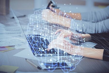 Multi exposure of woman hands working on computer and brain hologram drawing. Ai concept.