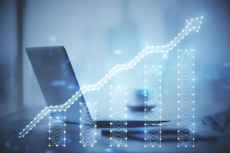 Multi exposure of chart and financial info and work space with computer background. Concept of international online trading. Standard-Bild