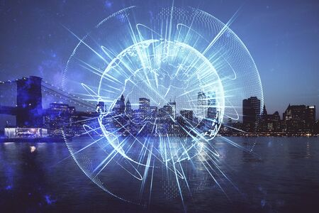 Double exposure of business theme hologram drawing and city veiw background. Concept of success. Banco de Imagens
