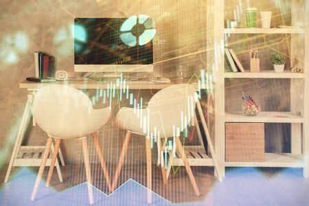 Multi exposure of stock market chart drawing and office interior background. Concept of financial analysis. Archivio Fotografico - 150117276